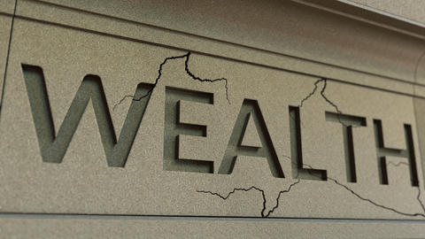 Cracking WEALTH word on the stone facade. Poverty related conceptual animation Live Action