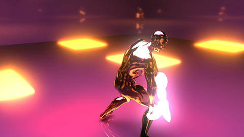 Sporty man dancing with neon lights. Loopable Animación