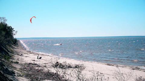 Kite surfing on Dnieper, Ukraine Footage