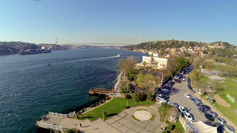 Flying over Bosphorus Sea, Bridge in the distance. High angle of Istanbul, Image
