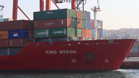 Container Ship, King Byron (IMO: 9357781, Marshall Is) with full of cargo docked Footage