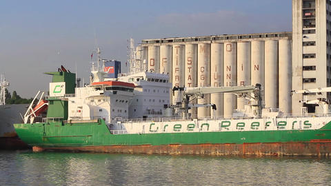 Green Reefer Ship. GREEN MAGNIFIC docked in port Live Action