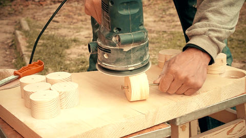 Time lapse of grinding with random orbital sander Footage