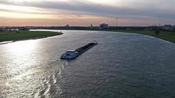 Duesseldorf / Germany - April 06 2018 : Transport vessel Goblin delivering coal 영상물