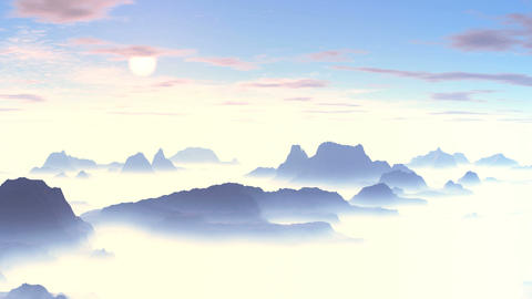Beautiful Sunset over the Misty Mountains Animation