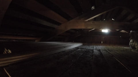 Planks in the attic. 4K Footage
