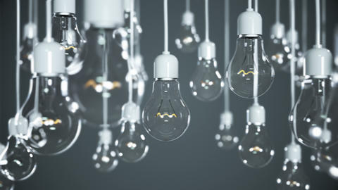 Idea concept with light bulbs on gray background Animation