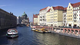 River Spree With Boat And Berlin Cathedral In Background In Berlin, Germany Footage