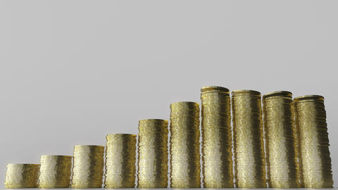 Growing bar chart made of coin stacks. Business success or growing savings Footage