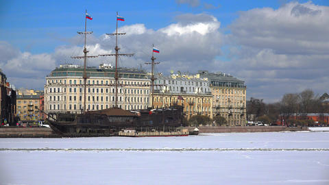 St. Petersburg, Petrogradsky district. Winter. 4K Footage