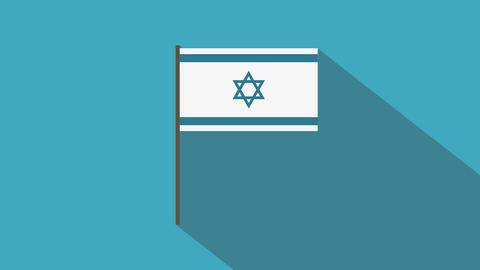 Israel flag flat design animation icon Animation