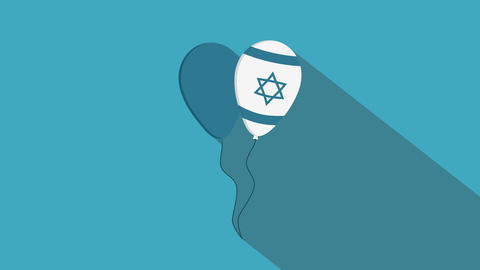 Two balloons flat design animation icon with Israel Independence Day holiday Animation