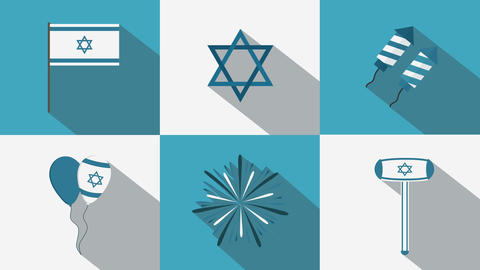Israel Independence Day holiday flat design animation... Stock Video Footage