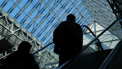 People silhouettes on escalator moving in business center with large windows Footage