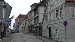 Norway Bergen street with Norwegian houses in Skuteviken district Archivo