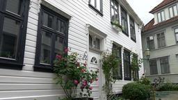 Norway Bergen Skuteviken white Scandinavian residential building with plants Footage