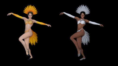 two dancers dance can kan,animation,transparent background Animation