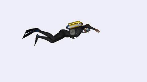 The diver swims under water along the screen ,animation,transparent background Live Action