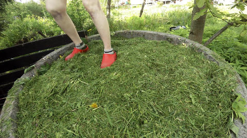 The girl rammed her feet with mown grass. 4K Footage