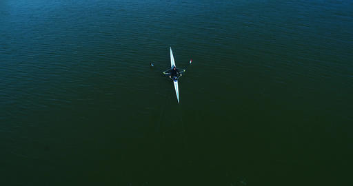 Aerial Drone Shot Of Rower 4K Archivo