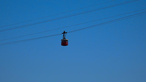 Cabin cable car. Cableway. Barcelona. Spain. 4K Footage
