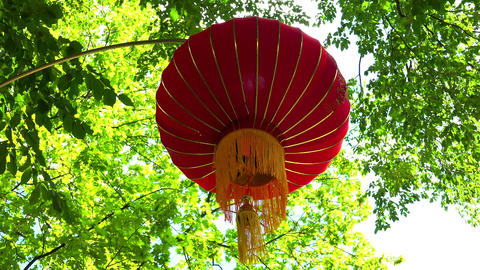 Chinese lantern in a green park. 4K Footage