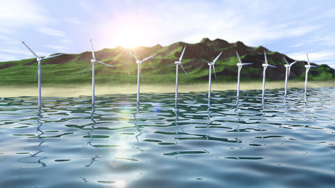 Wind generators farm in ocean near an island loop Animation