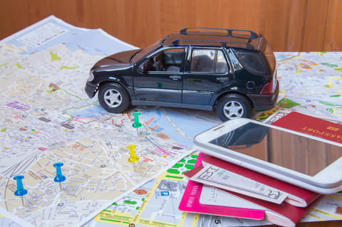 Plan your journey by car, a passport, money, cards, mobile phone フォト