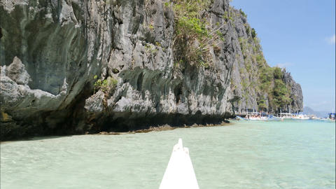 Going inside Big Lagoon with boat at El Nido island, hyper lapse Live Action