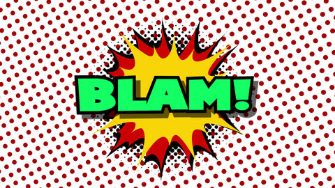 Blam - word in speech balloon in comic style animation Animation