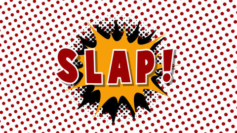 Slap - word in speech balloon in comic style animation Animation