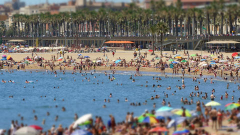 Cinemagraph of beaches of Barcelona city Footage