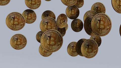 Bitcoins falling down in slow motion Animation