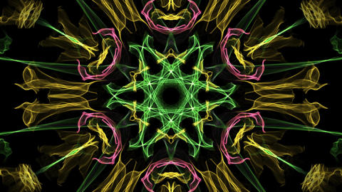 Live multicolored variegated fractal mandala, video tunnel on black background. Animation