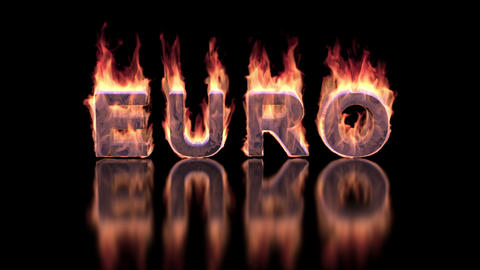Euro word burning in flames on the glossy surface, financial 3D illustration Animation