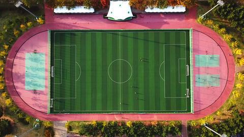 Aerial view of soccer field in South Korea ビデオ