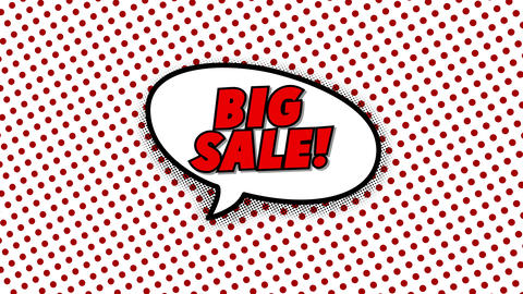 Big sale text in speech balloon in comic style animation Animation