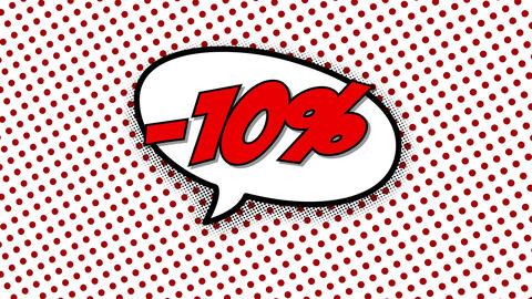 10 percent discount text in speech balloon Animation