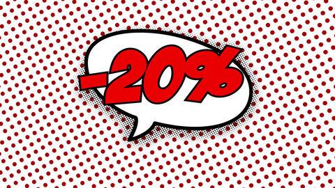 20 percent discount text in speech balloon CG動画
