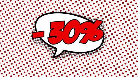 30 percent discount text in speech balloon CG動画