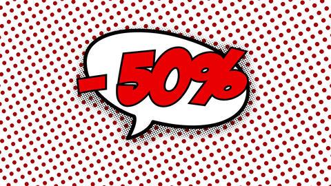 50 percent discount text in speech balloon CG動画