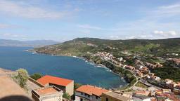 North coast of Sardinia island, Italy. View from Castelsardo town Footage