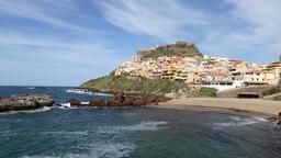 Colorful houses of Medieval town Castelsardo, Sardinia, Italy Footage