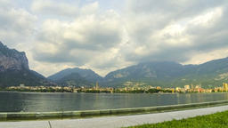 Panoramic view of Lake Como and Lecco city, Italy Footage
