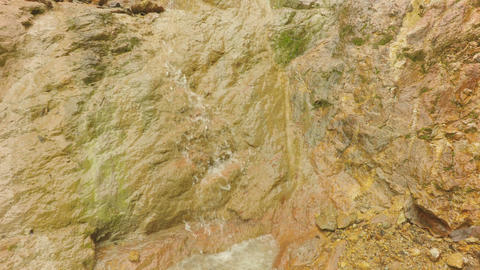 Water Stream Over Gold Rich Formation In Ecuadorian Mining Area Live Action
