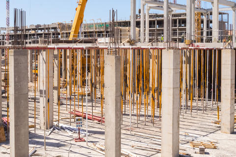 Stanchion and reinforcement of the pillars on a new construction Photo