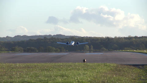 Light aircraft taking off from a small UK airport Live Action