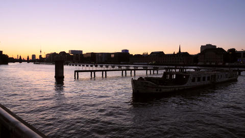 River Spree Berlin at sunset Footage