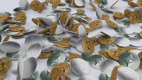 Bitcoins and Ethereums cryptocurrency falling over a table Animation