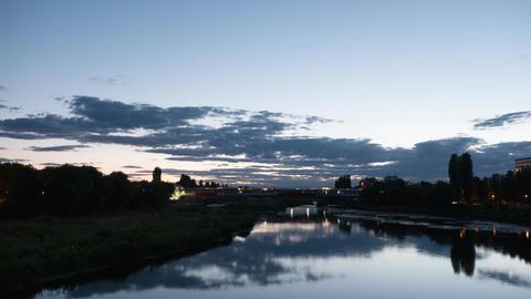 River landscape timelapse after sunset - cityscape Footage